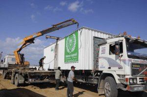 Transportable homes for Gazans