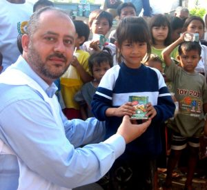 HAI CEO Bashar Al-Jamal with orphans