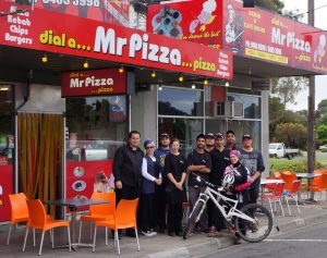 The Mr Pizza team supporting Tanya Kubitza. Mr Pizza, Epping & Thomastown, Melbourne