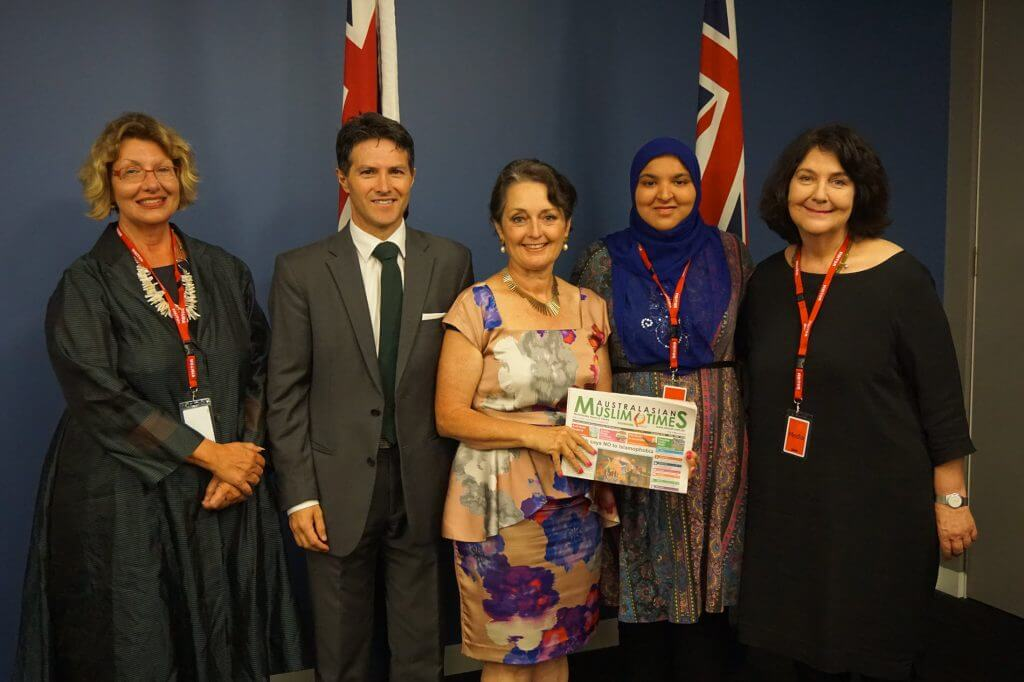From left: Paula Masselos, Minister Victor Dominello, Minister Pru Goward, Mobinah Ahmad and Jennifer Burn at the Multicultural Media Briefing