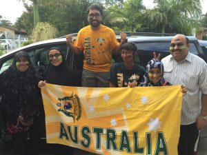 Well prepared Socceroos fans leaving for the game