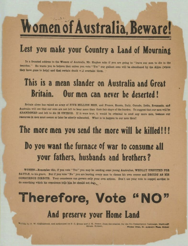 Anti conscription poster during World War I.