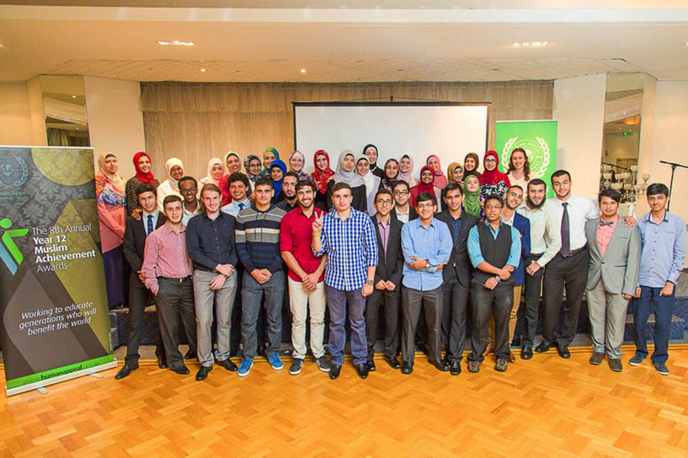 Young Muslim men and women who have received a Muslim Achievement from the Human Appeal event in Sydney.
