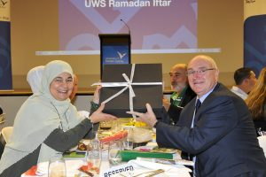 Ms Maha Abdo with Prof Barney Glover, VC at UWS Iftar.