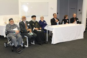 The speaker panel at the One God Symposium. From left: Dr Ashfaq Ahmad, Prof Jamil Farooqui Rev Fr, Shenouda Mansour, Sr Elizabeth Delayney, Prof. Mehmet Ozalp, Rabbi Nicole Roberts, Mr Jeremy Jones AM