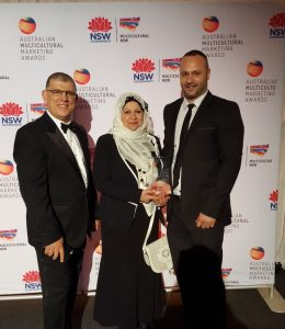 Minister for Multiulturalism Mr Ajaka with 2MFM President, Rafic Hussein & Program Manger Faten El Dana with their SBS People's Choice Award.