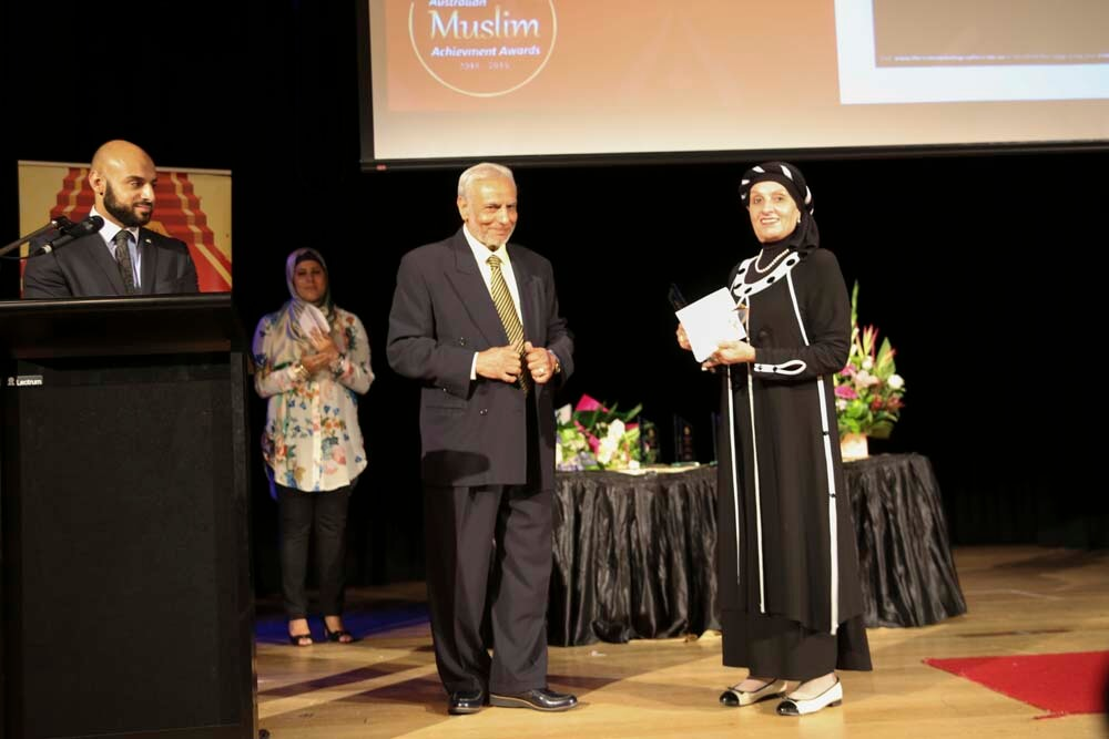 Dr Ibrahim Abu Muhammad with Lifetime Achiever Award Winner Mona Abdel-Fattah at the Australian Muslim Achievement Awards 2015.