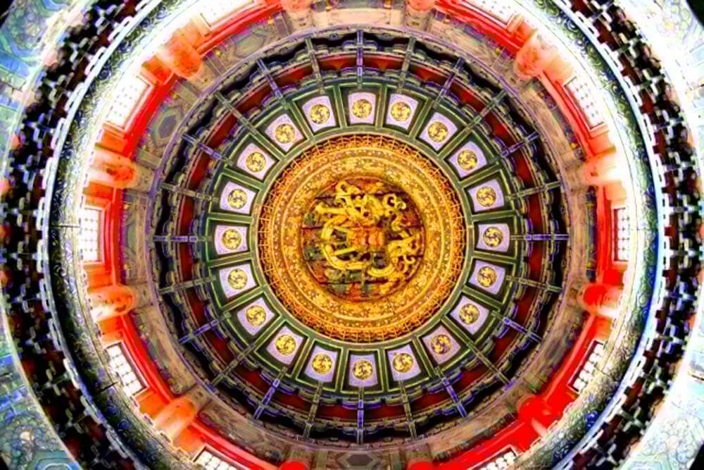 Under the dome of the Winter Palace in Beijing.