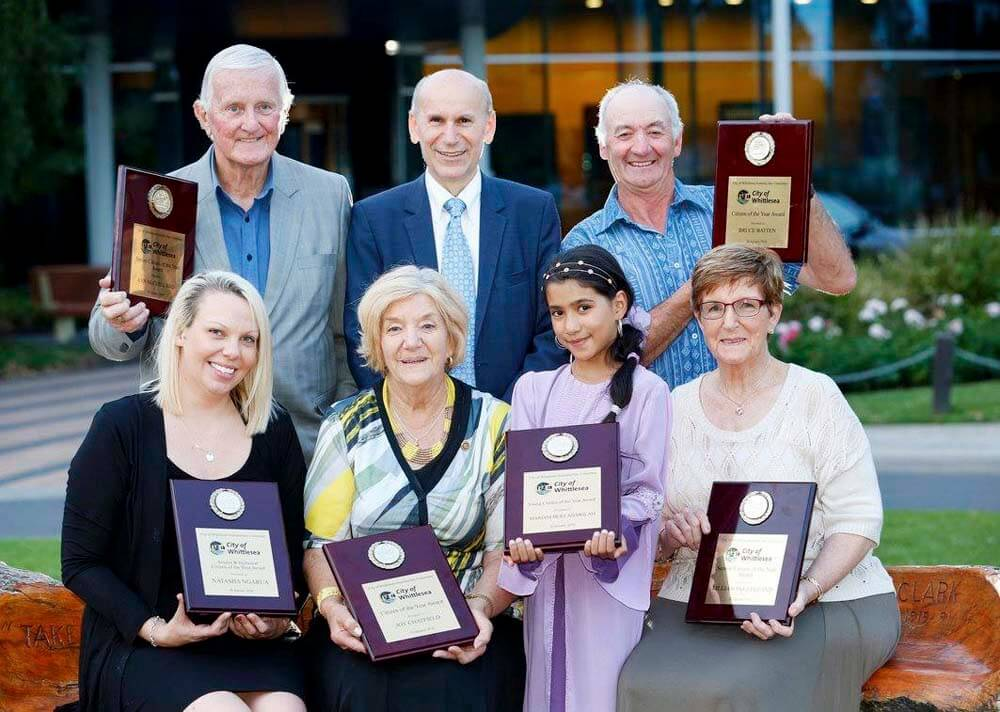 Mariam with other award winners and the Mayor of city of Whittlesea, Cr Kozmevski (centre).