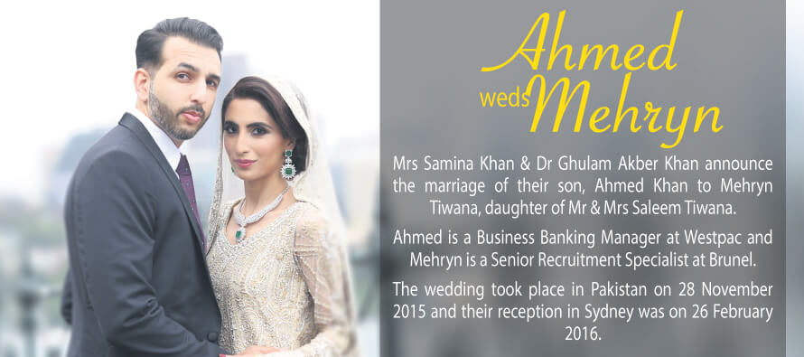 Ahmed weds Mehryn