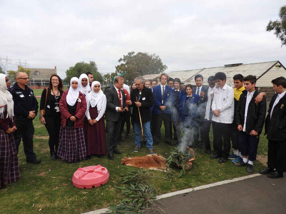 Aboriginal Smoking Ceremony at Al Siraat College on Tuesday 17 May, conducted by Wurundjeri Elder Ian Hunter.