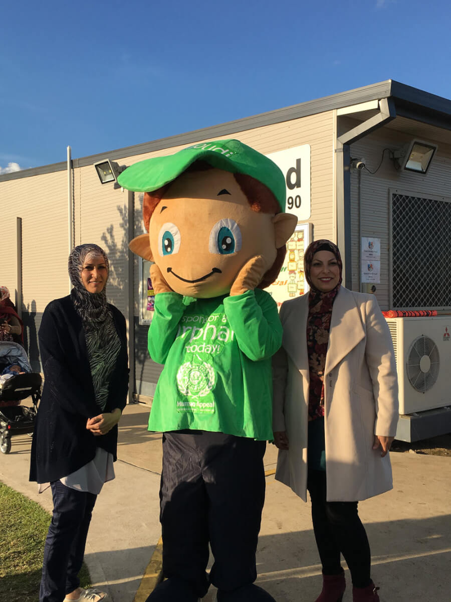 Mona Kassem MFHP principal, Souraya Kanan admin  and Human Appeal mascot orphan Hamoudi