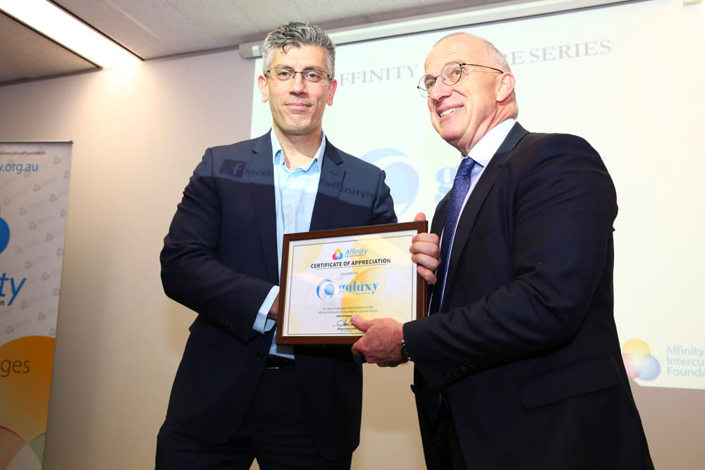 Mehmet Saral receives award for Galaxy Foundation by Dr Spence. Photo by Samet Erkut.