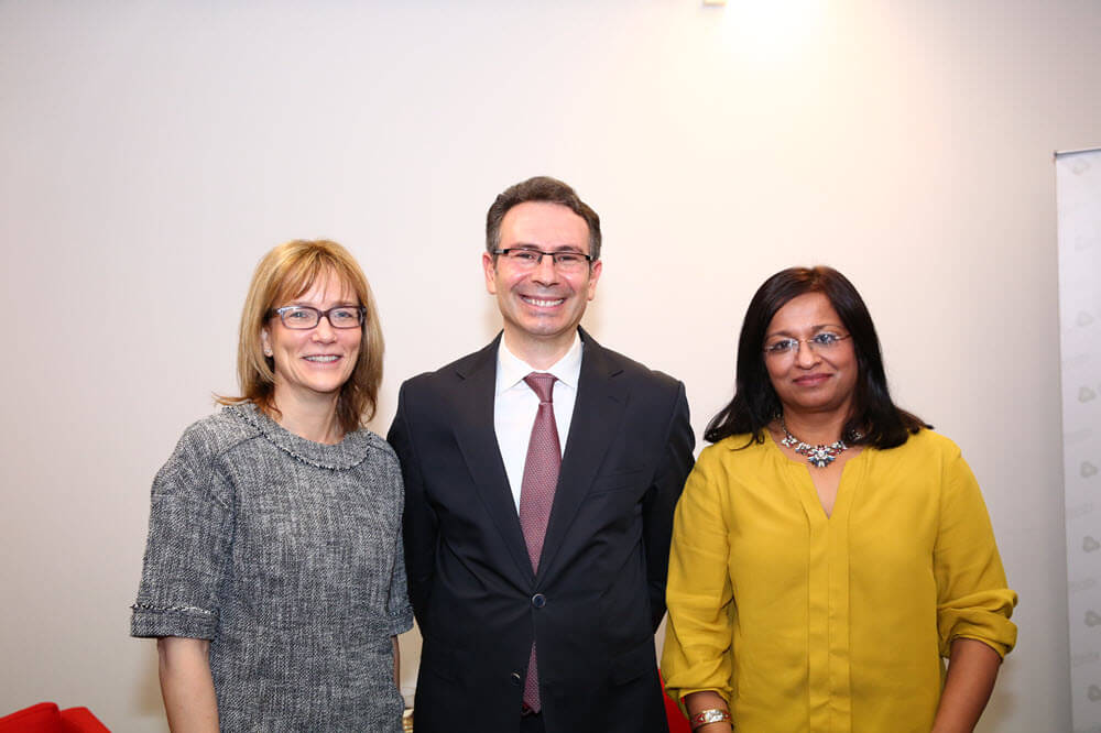 From left: Jane Jeffes, Ahmet Polat and Professor Mona Siddiqui. Photo by Samet Erkut.