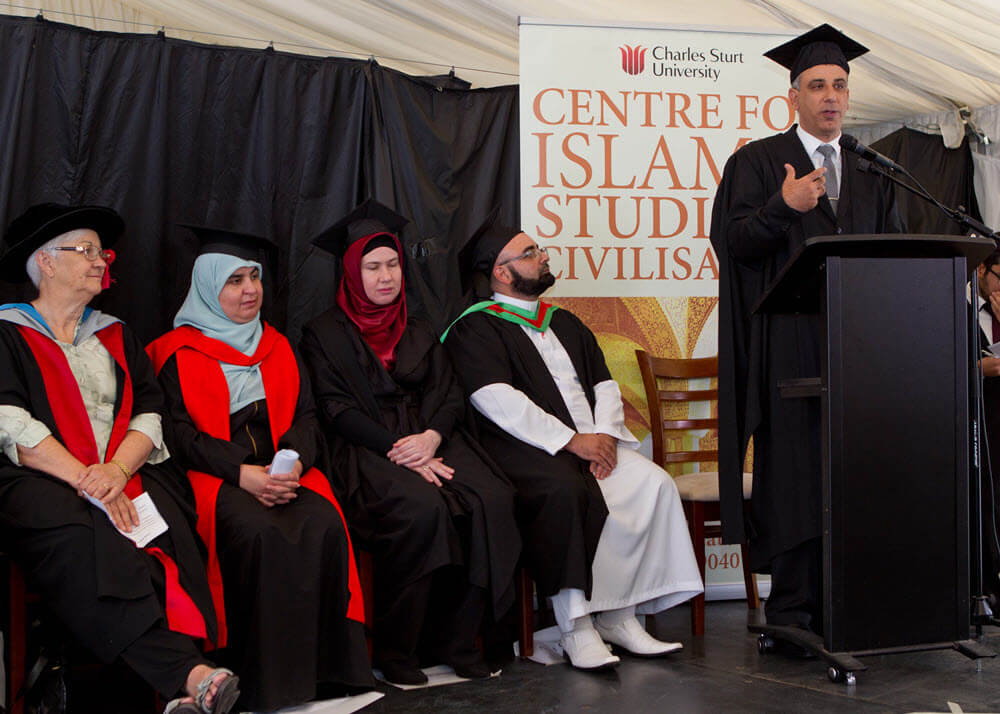 From left: Prof Tony Downs, Dr Ghena Krayem, Dr Zuleyha Keskin, Mr Chaker Aref and Dr Mehmet Ozalp (right) speaking. Photo by Shems Photography.
