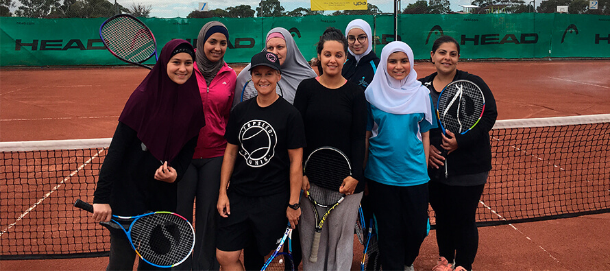 Free serve of tennis to Muslim women and girls