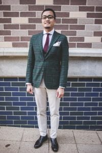Michael, 21, intern at MJ Bale.  I like the sartorial and classic style. The jacket is from satori, the tie is from Henry Bucks, pocket square from Drake London, shoes are from Kazuna tailors and the pants are Brooks brothers.