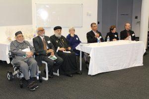The speaker panel at the One God Symposium. From left: Dr Ashfaq Ahmad, Prof Jamil Farooqui Rev Fr, Shenouda Mansour, Sr Elizabeth Delayney, Prof. Mehmet Ozalp, Rabbi Nicole Roberts, Mr Jeremy Jones AM