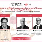 Webinar on press freedom and democracy in Egypt and Turkey